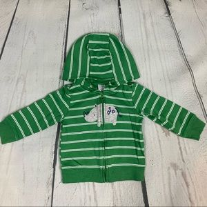 JOY Carter's Green Striped Rhino Sweatshirt 9 Mont